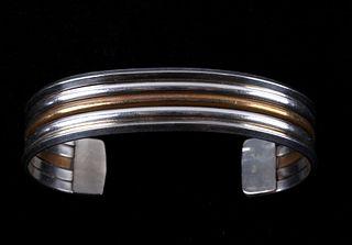 Navajo Sterling Silver Cuff & Gold Plated Cuff