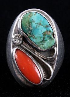 Zuni Cripple Creek & Coral Inlaid Sterling Ring