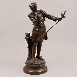 DESPUÉS DE HENRYK KOSSOWSKI. Siglo XX. L'Armurier. Fundición en bronce. 59 cm de altura