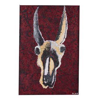 Ilan Dana. Cráneo de animal astado. Técnica mixta sobre tela. Firmado. Enmarcado. 60 x 40 cm