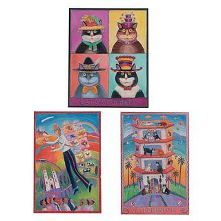 "Lee Chapman ""Lencho"" Lote de 3 obras. Consta de: a) Cats with hats Firmada y fechada 2002 Técnica mixta sobre tela Enmarcada. Otros."