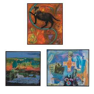 Póhl Lote de 3 obras. Consta de: a) Mugro II Firmada y fechada 2001 Técnica mixta sobre tela. Enmarcada. 107 x 90 cm Otras.