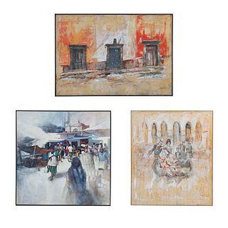 Lote de 3 obras. Consta de: a) Firma no identificada Sin título Firmada Técnica mixta sobre tela Enmarcada 158 x 136 cm Otras.