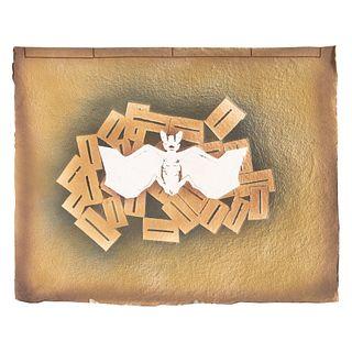 Cuaderno artesanal. México. SXX. Diseño por FRANCISCO TOLEDO para Amigos del Taller Arte Papel Oaxaca A.C. Firmado, sellado y etiqueta.