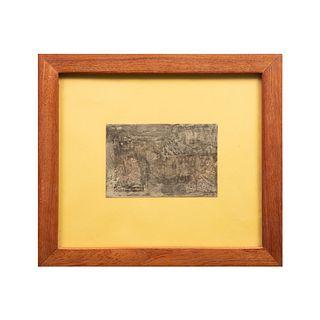 Valenzuela. Composición abstracta. Firmado y fechado '76. Técnica mixta sobre papel. Enmarcado. 14 x 22 cm