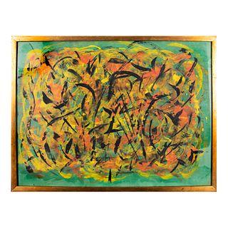 M.S. SALAS Composición abstracta Firmado y fechado 9 Oct 74 al frente Técnica mixta sobre papel Enmarcado 44 x 60 cm