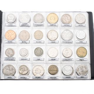 Colección de numismática. Siglo XX. Consta de monedas de 56 países: Alemania Federal, Bahrain, Confederación Helvética (Suiza),...