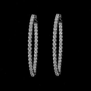Diamond and 14K Hoop Earrings