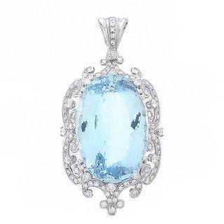 GIA Aquamarine, Diamond and 18K Pendant