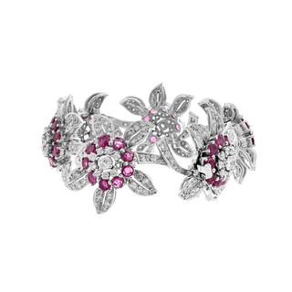 Art Deco Diamond, Ruby and Platinum Bracelet