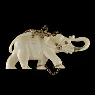 Gemstone and 14K Elephant