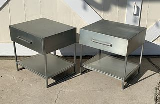 Pair of Industrial Nightstands/End Tables in Brushed Metal