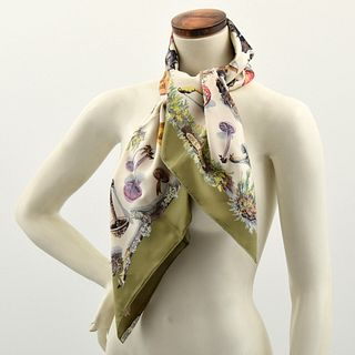 "Hermes ""Champignon Mushrooms"" Silk Scarf"