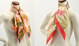2 Silk Scarves, Salvatore Ferragamo & Cartier