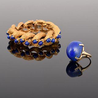 18K Gold & Lapis Lazuli Bracelet & 14K Gold/Lapis Ring