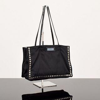 "Prada Tessuto ""Etiquette"" Studded Tote Bag"