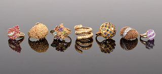 7 14K Gold Estate Rings with Diamonds & Stones