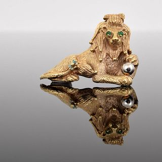14K Gold & Emerald Lion Estate Brooch