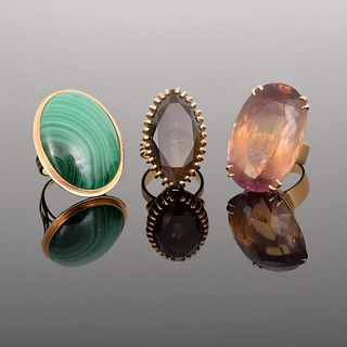 3 14K Gold, Quartz & Malachite Estate Rings