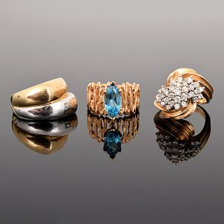 3 14K Gold, Diamond & Topaz Estate Rings