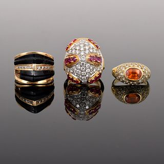 3 14K/18K Gold Estate Rings with Diamonds, Gemstones