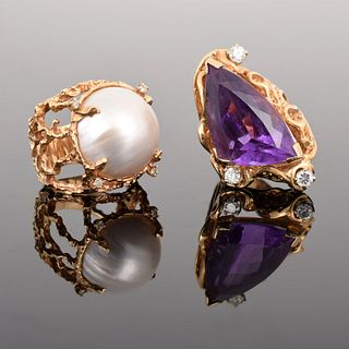 2 14K Gold, Diamond, Pearl & Amethyst Estate Rings