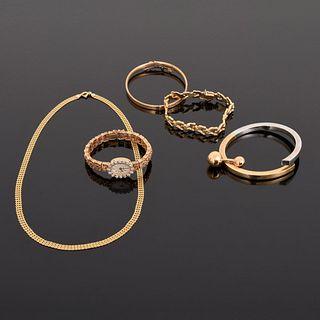 14K Gold & Diamond Watch & 5 Pcs Gold Estate Jewelry
