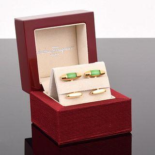 Salvatore Ferragamo 18K Gold & Diamond Cufflinks