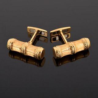 18K Gold Bamboo Design Cufflinks