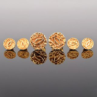 Cartier 14K Gold Logo Cufflinks, 4 Shirt Studs