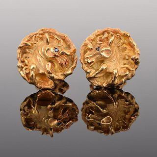 Cartier 18K Gold & Sapphire Horse Head Cufflinks