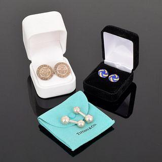 3 Pairs of Cufflinks: 2 Tiffany, 1 Asprey