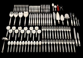 "Georg Jensen ""Acorn"" Sterling Silver Flatware, 103 Pieces"