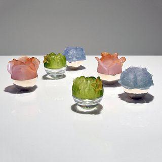 Set of 6 Daum Pate de Verre Bud Vases