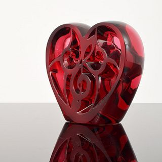 "Lalique Elton John ""Music is Love"" Heart Sculpture"