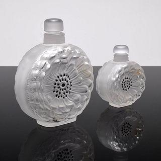 "2 Lalique ""Dahlia"" Perfume Bottles"
