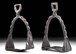 9th C. Medieval European Iron Stirrups Matched Pair