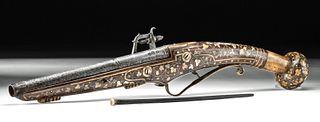16th C. German Steel Wheellock Pistol w/ Bone Inlays