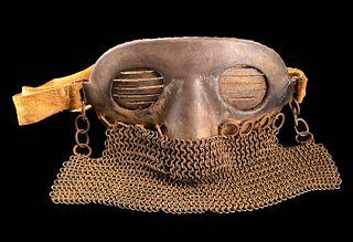Western European WWI Leather & Iron Splatter Mask