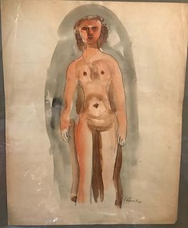 Harold Cohn  Nude  Watercolor on paper  Signed  H' 32