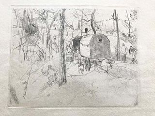 Beautiful Gypsy Camp & Wagon, etching, Rudolf Grossmann, Listed German