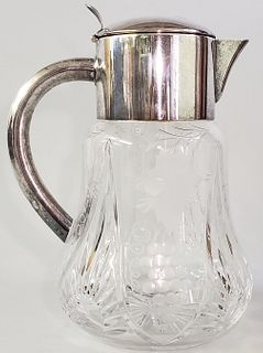 Antique Cut Crystal and Silver Plated Water Pitcher