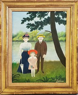 """Fernand Boilauge Acrylic on Artist Board, """"Family Portrait by the River"""""""