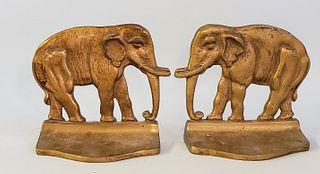 Pair of Vintage Solid Brass Figural Elephant Bookends