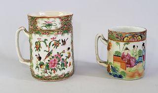 Two 19th Century Chinese Rose Medallion Mugs