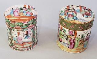 Two 19th Century Chinese Rose Medallion Cylindrical Covered Boxes