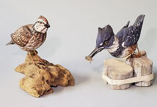Two Robert Wells Hand Carved and Painted Shorebird Decoys