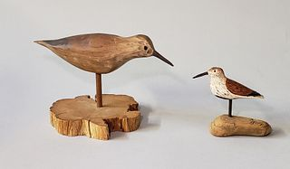 Two Hand Carved and Painted Shorebird Decoys