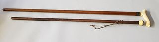 Two 19th Century Antique Whalebone Walking Stick and Cane