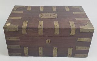19th Century Mahogany Brass Bound Compartmentalized Writing Box